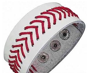 Leather Baseball Cuff Bracelet