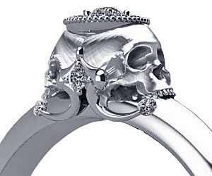 Double Skull Engagement Ring Buy This Bling