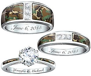 camo his and hers wedding ring set - Camo Wedding Ring Set